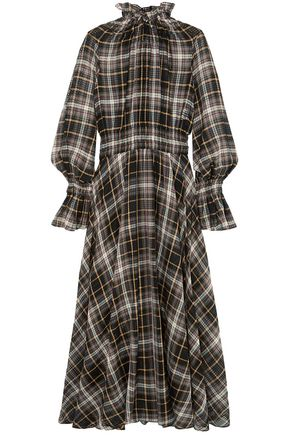 BEAUFILLE Shirred cotton and silk-blend maxi dress