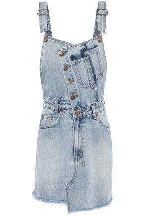 KSUBI Frayed faded denim mini dress
