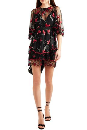 Alice Mccall Dresses ALICE MCCALL WOMAN WISH YOU WERE HERE GUIPURE LACE-TRIMMED EMBROIDERED TULLE MINI DRESS BLACK