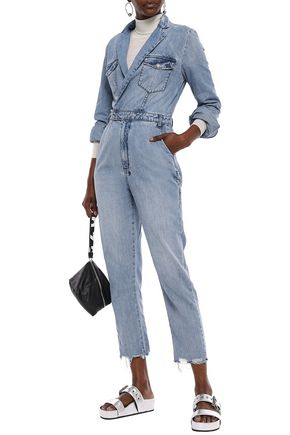 KSUBI Wrap-effect distressed denim jumpsuit