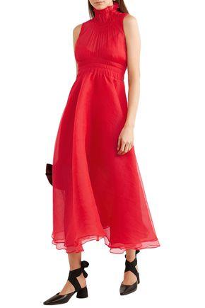 Beaufille Dresses BEAUFILLE WOMAN VENUS PLISSÉ-CHIFFON MIDI DRESS RED