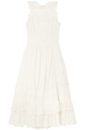 ULLA JOHNSON Willow ruffled broderie anglaise cotton midi dress