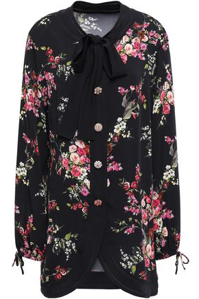 DOLCE & GABBANA Button-embellished floral-print silk-blend crepe blouse