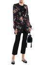 DOLCE & GABBANA Button-embellished floral-print silk-blend crepe blouse