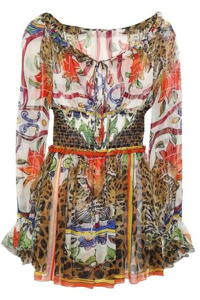 DOLCE & GABBANA Shirred printed silk-chiffon blouse