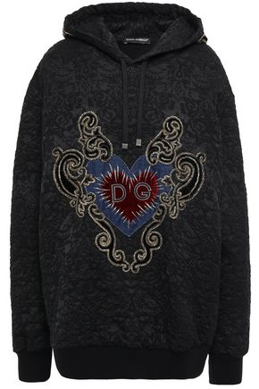 DOLCE & GABBANA Embellished cotton-blend jacquard hoodie