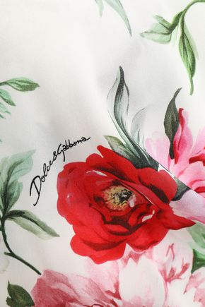 DOLCE & GABBANA Wrap-effect floral-print silk-crepe peplum top