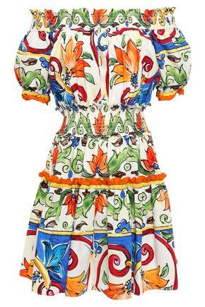 DOLCE & GABBANA Off-the-shoulder shirred printed cotton-poplin mini dress