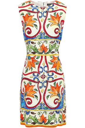 DOLCE & GABBANA Printed cotton-blend jacquard mini dress