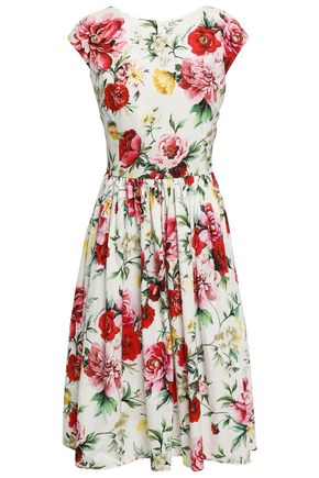 DOLCE & GABBANA Gathered floral-print cotton-poplin dress