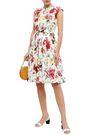 DOLCE & GABBANA Gathered floral-print cotton-poplin dress