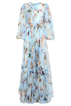 DOLCE & GABBANA Pleated printed silk-chiffon gown