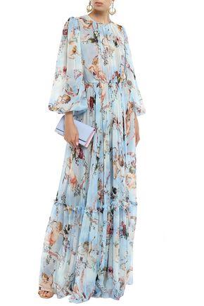 DOLCE & GABBANA Pleated printed silk-chiffon gown