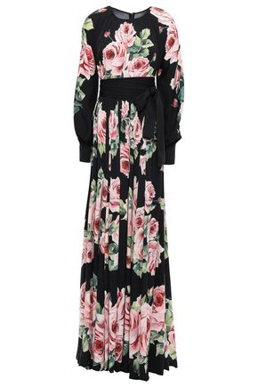 DOLCE & GABBANA Ruffled floral-print silk-charmeuse maxi dress
