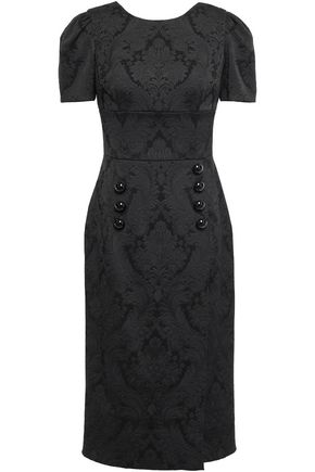 DOLCE & GABBANA Wrap-effect button-embellished jacquard dress