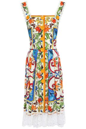 DOLCE & GABBANA Crochet-trimmed printed cotton-blend poplin midi dress