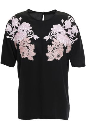 DOLCE & GABBANA Embroidered lace-appliquéd silk blouse