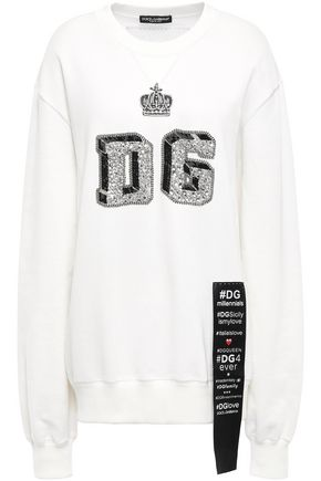 DOLCE & GABBANA Embellished French cotton-terry sweatshirt