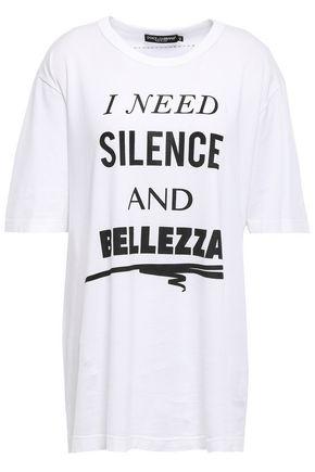 DOLCE & GABBANA Oversized glitter-embellished printed cotton-jersey T-shirt