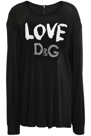 DOLCE & GABBANA Embellished stretch-jersey top