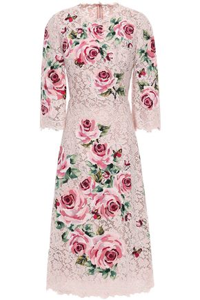 DOLCE & GABBANA Floral-appliquéd lace midi dress
