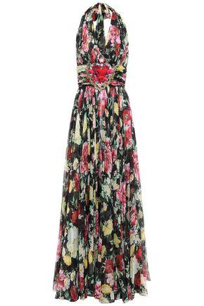 DOLCE & GABBANA Appliquéd floral-print silk-chiffon halterneck gown