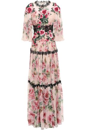 DOLCE & GABBANA Embellished floral-print silk-blend chiffon gown