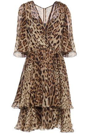 DOLCE & GABBANA Tiered leopard-print silk-chiffon dress