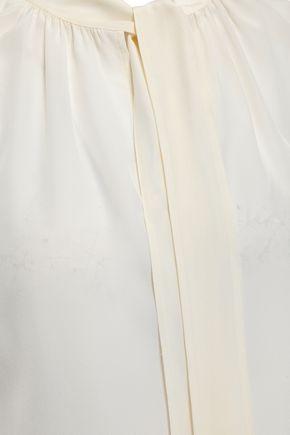 TORY BURCH Gathered silk crepe de chine top