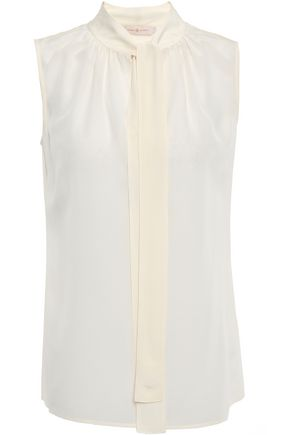 TORY BURCH Gathered silk crepe de chine top