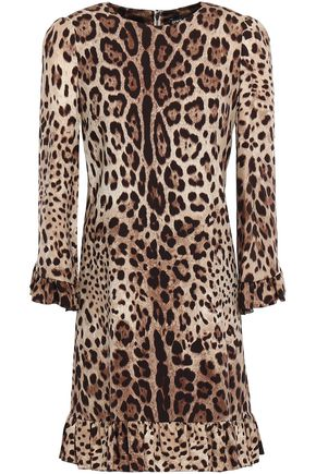 DOLCE & GABBANA Ruffle-trimmed leopard-print stretch-silk mini dress