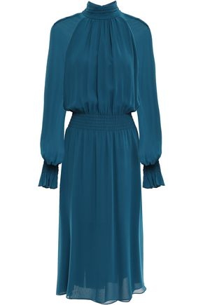 TORY BURCH Gathered silk-georgette midi dress