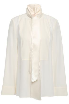 TORY BURCH Pussy-bow silk-cady blouse
