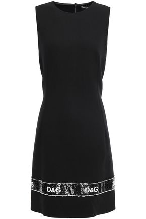 DOLCE & GABBANA Sequin-embellished wool-blend crepe mini dress