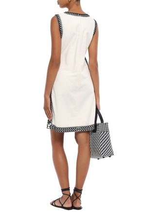 TORY BURCH Embellished embroidered cotton-canvas mini dress