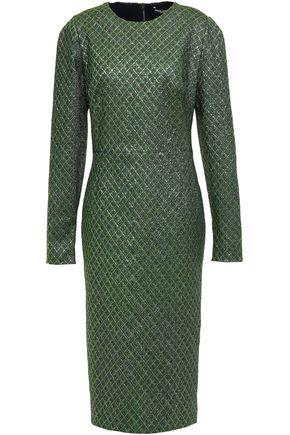 DOLCE & GABBANA Coated metallic stretch-jacquard midi dress
