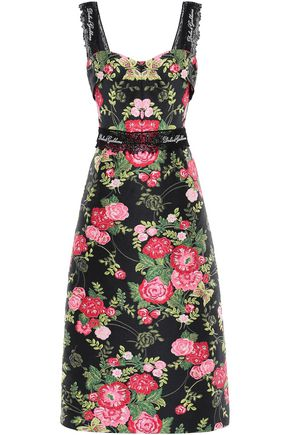 DOLCE & GABBANA Crochet-trimmed jacquard midi dress