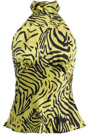 DE LA VALI Vivienne tiger-print silk-satin top