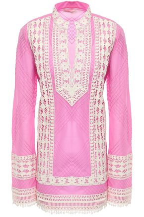 TORY BURCH Crochet-trimmed cotton-mousseline tunic