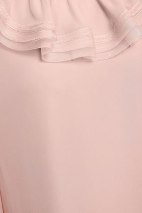 TORY BURCH Layered ruffled silk-crepe blouse