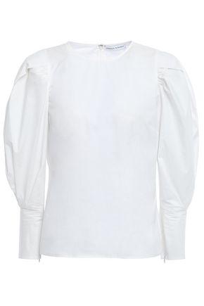 REBECCA MINKOFF Gathered cotton-poplin blouse