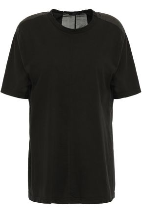 CLU Pleated organza-paneled cotton-jersey T-shirt