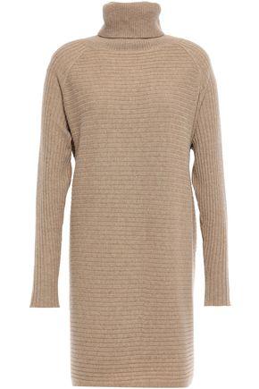 N.PEAL فستان قصير بياقة عالية من الكشمير المضلع بأسلوب ميلانغ
