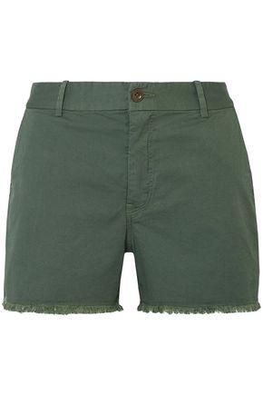 NILI LOTAN Fringed stretch-cotton twill shorts