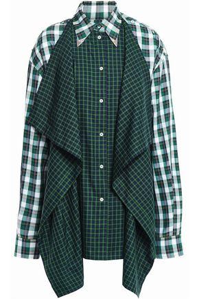 PUSHBUTTON Draped patchwork cotton-blend shirt