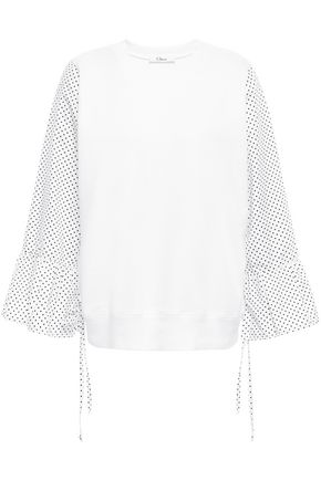 CLU Paneled cotton-jersey and poplin top