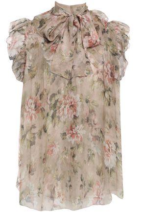 ZIMMERMANN Pussy-bow ruffle-trimmed floral-print silk-chiffon blouse