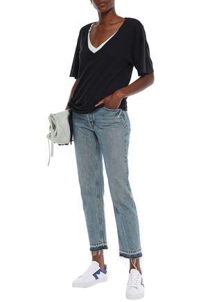 Current Elliott Current/Elliott Woman Lace-Up Cotton-Jersey T-Shirt Black