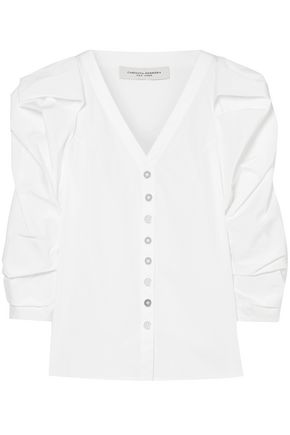CAROLINA HERRERA Cotton-blend poplin blouse