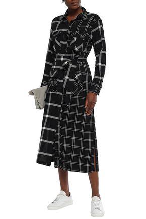 Current Elliott Current/elliott Woman The Ana Paneled Checked Twill And Gauze Midi Shirt Dress Black
